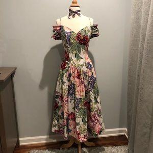 Cotton off shoulder floral dress size 4